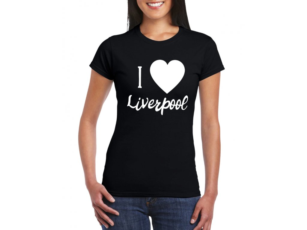 dámské černé tričko Miluji Liverpool fc