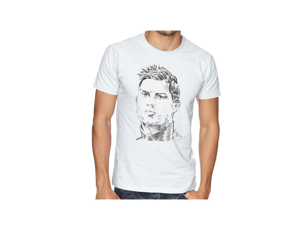 pánské bílé tričko cristiano ronaldo Obličej