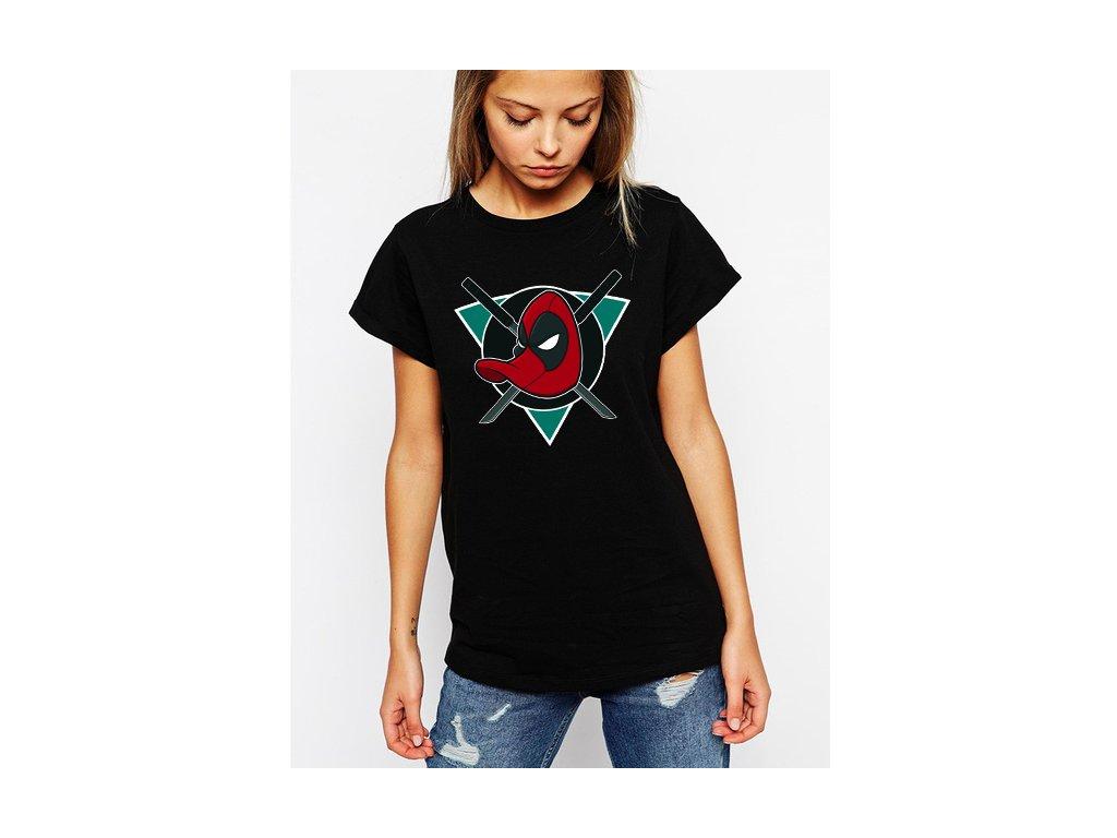 dámské černé tričko ANAHEIM DUCKS MAJESTIC Deadpool