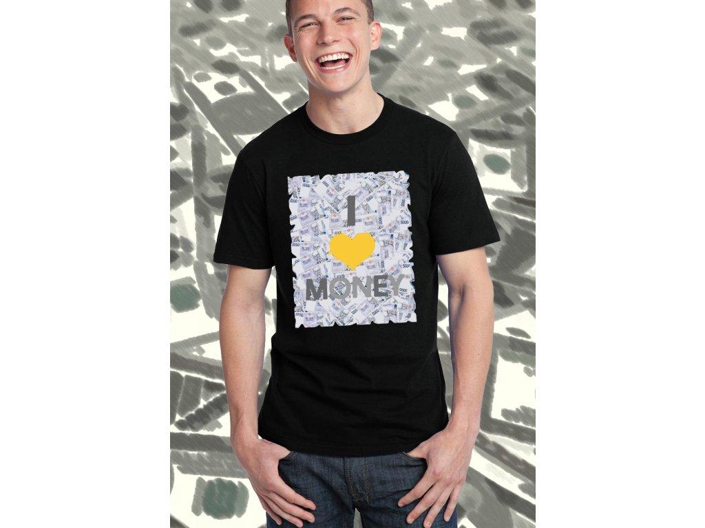 pánské černé tričko miluji peníze a sebe
