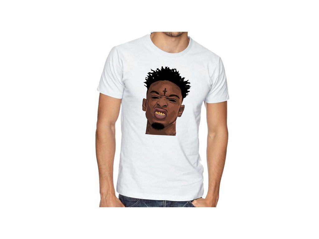 pánské bílé tričko 21 savage