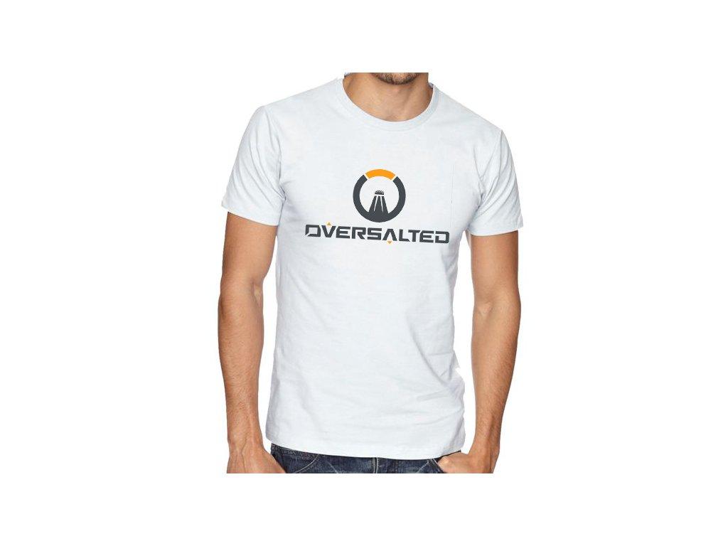pánské bílé tričko přesolené parodie overwatch