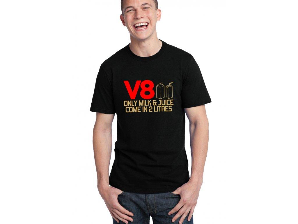 pánské černé tričko V8 Jenom mléko a džus patří do dvoulitru