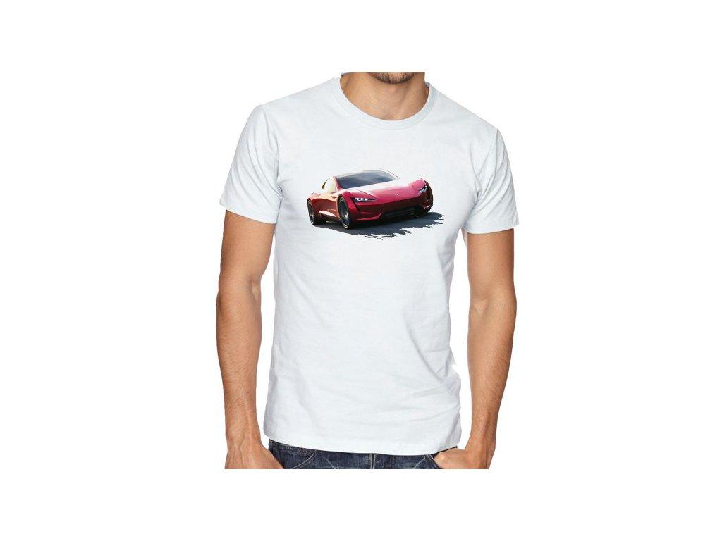 pánské bílé tričko tesla roadster