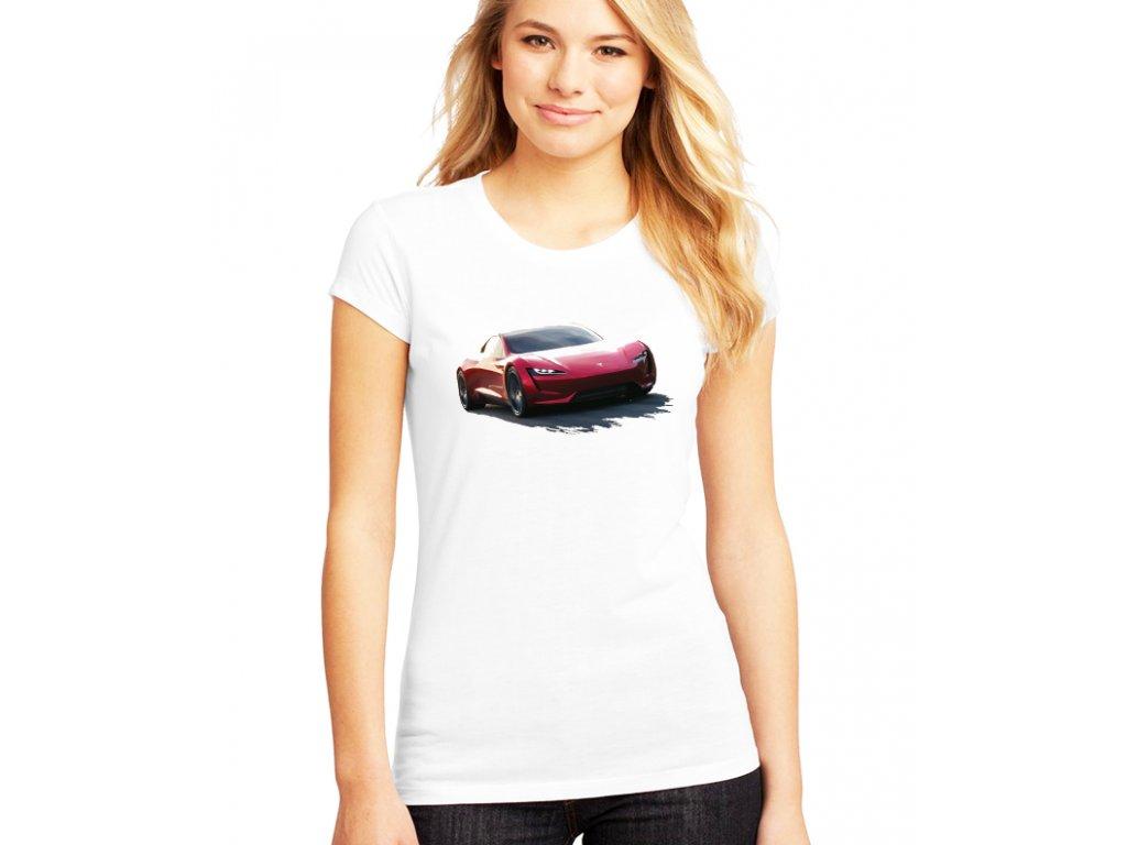 dámské bílé tričko tesla roadster