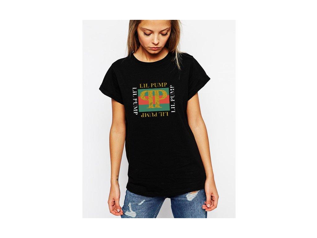 dámské černé tričko Lil pump Imitace gucci