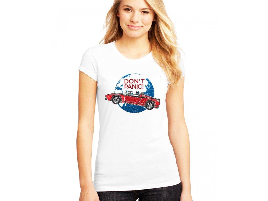 dámské bílé tričko SpaceX Roadster