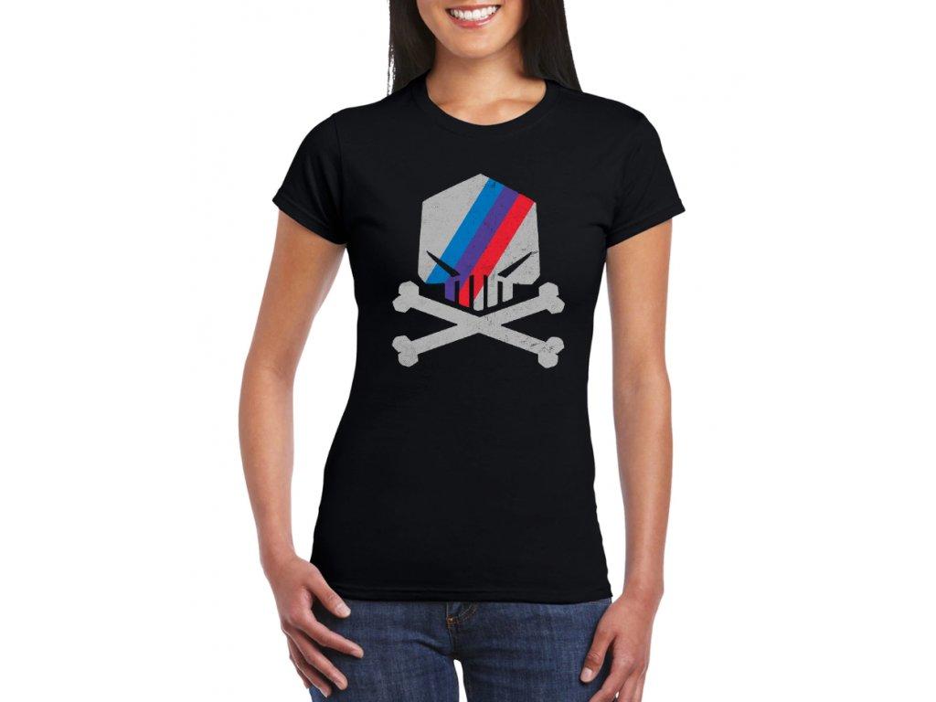 dámské černé tričko BMW M lebka