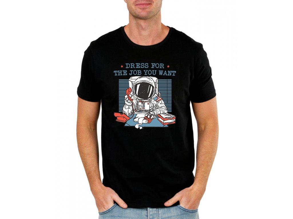 pánské černé tričko práce kosmonaut