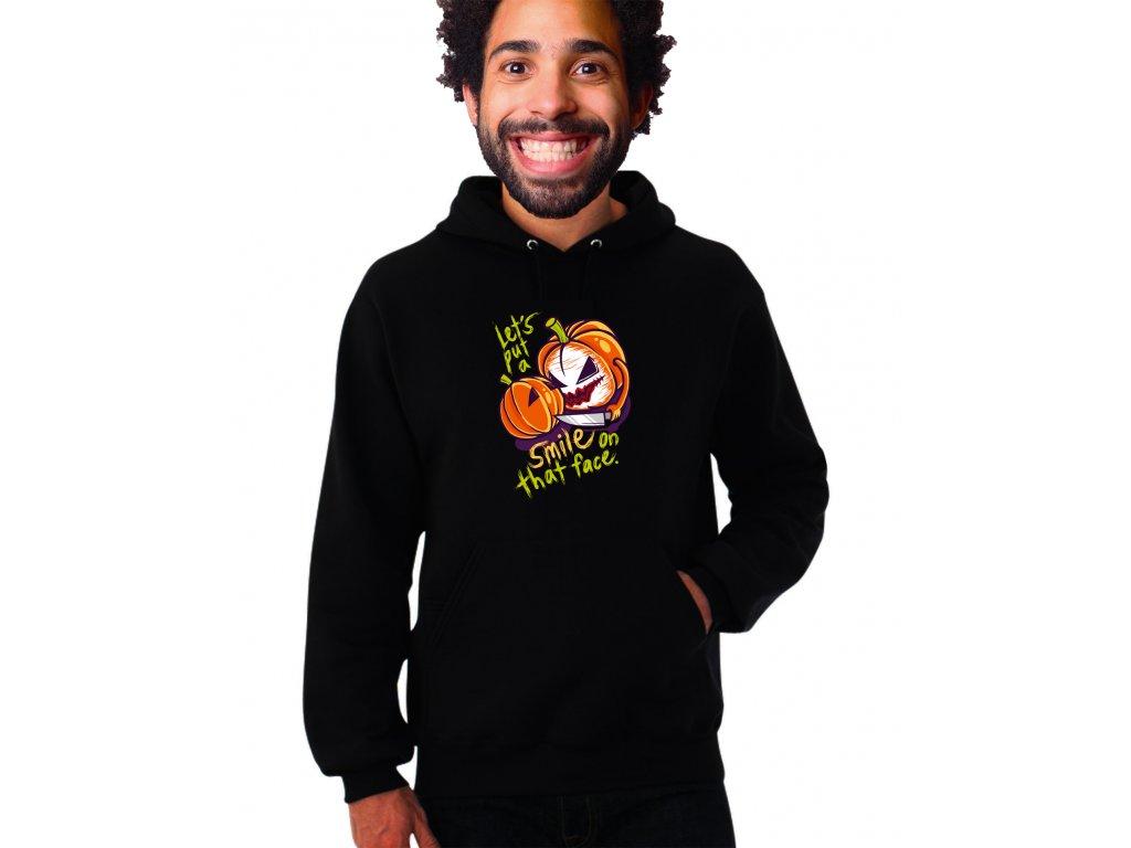 unisex černá mikina s kapucí joker smile