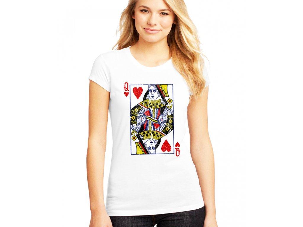 dámské bílé tričko poker Karta Q Srdcová