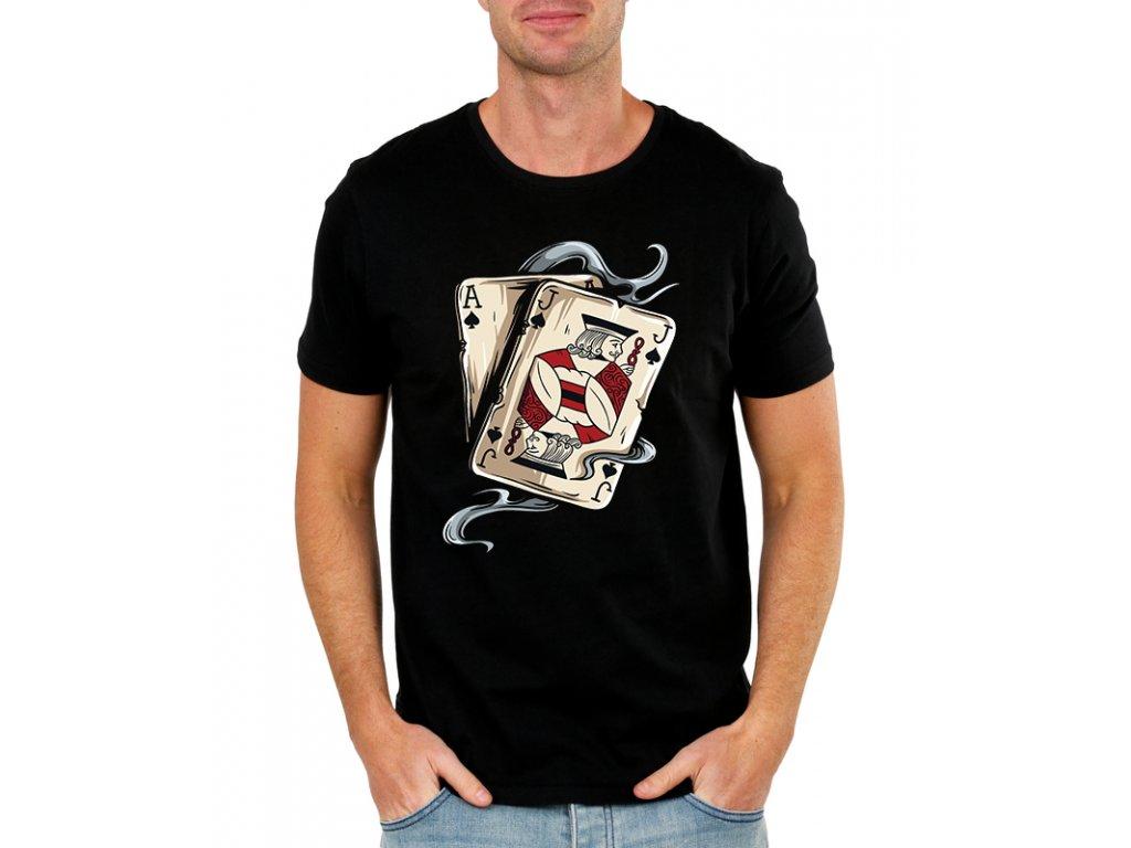 pánské černé tričko Poker AJ