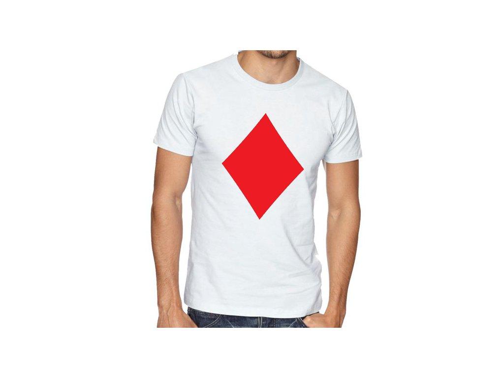 pánské bílé tričko poker káry diamond