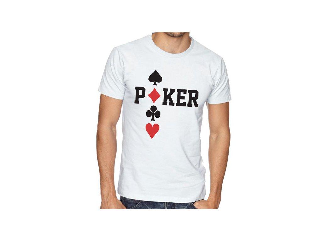 pánské bílé tričko poker káry piky kříže srdce