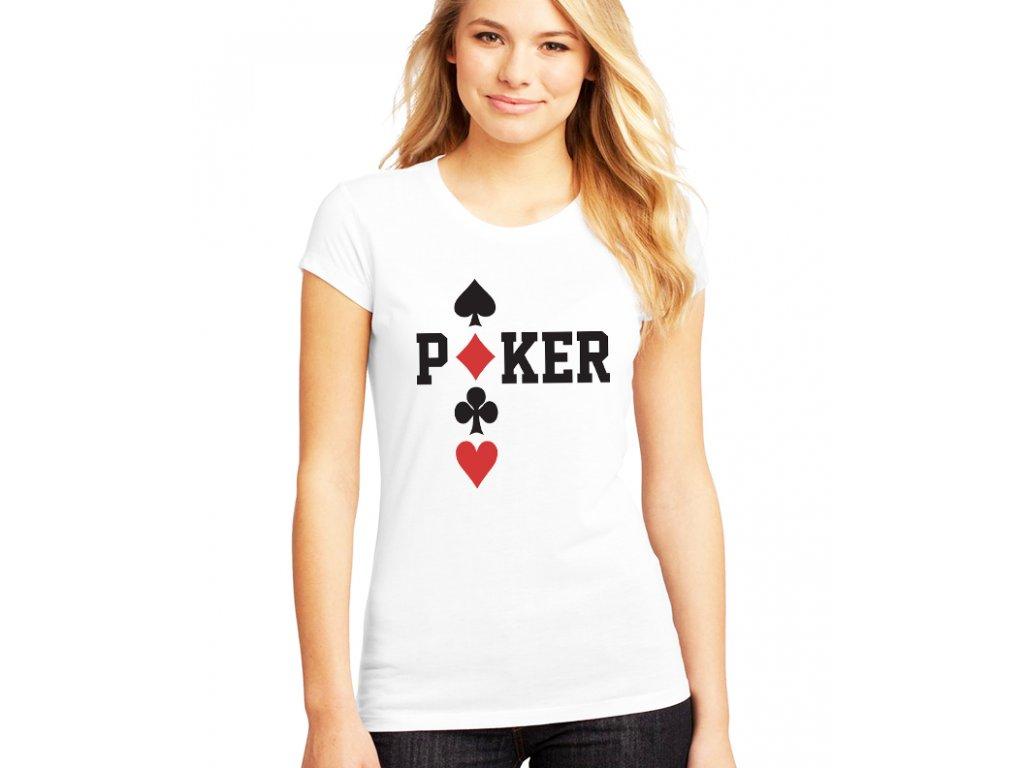 dámské bílé tričko poker káry piky kříže srdce