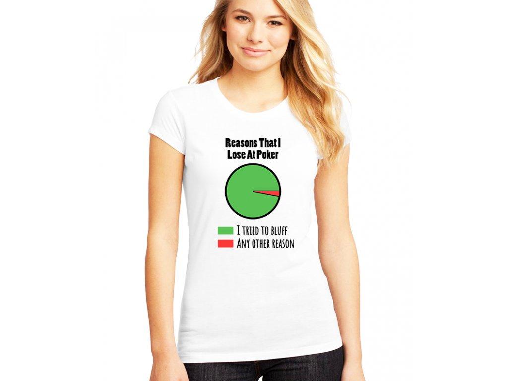 dámské bílé tričko důvody proč prohrávám v pokeru