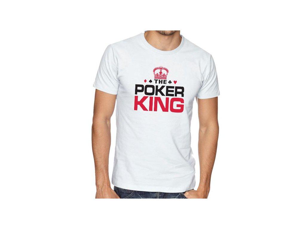pánské bílé tričko pokerový král