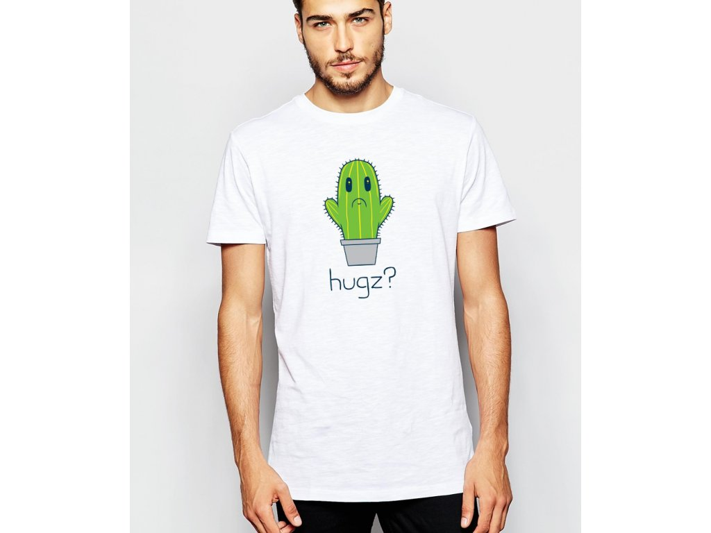 pánské bílé tričko obětí - kaktus