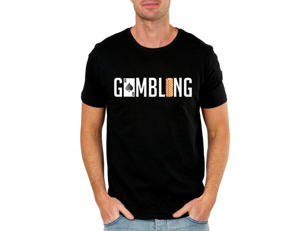 pánské černé tričko gamblerství