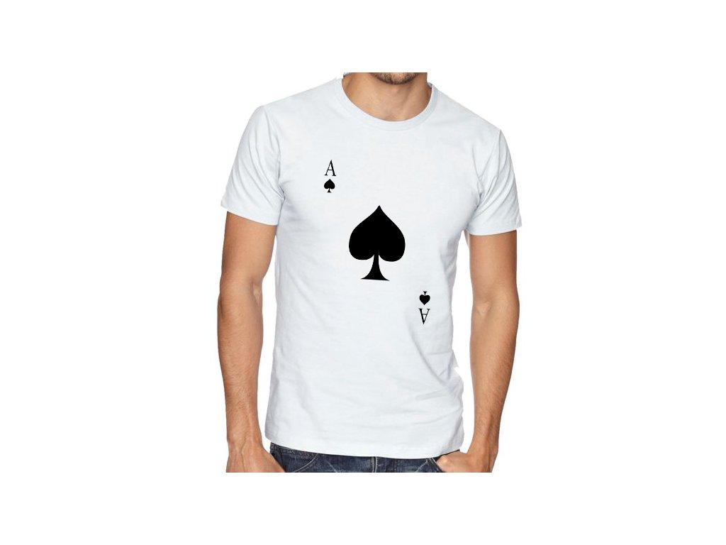 pánské bílé tričko eso pikové