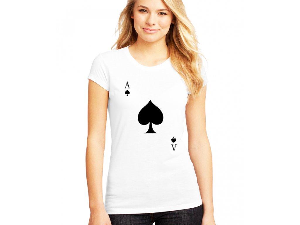 dámské bílé tričko eso pikové