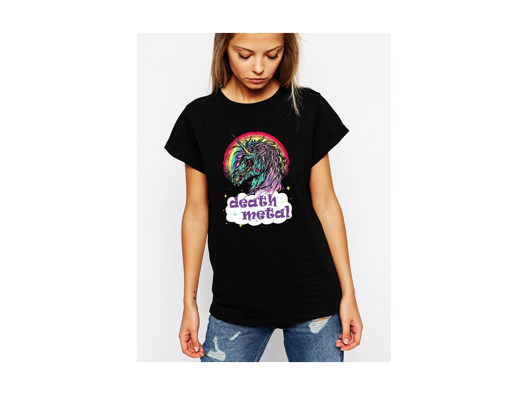 dámské černé tričko death metal unicorn