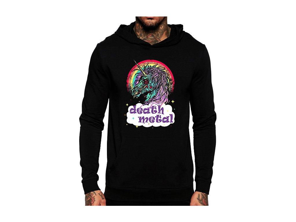 unisex černá mikina s kapucí death metal unicorn