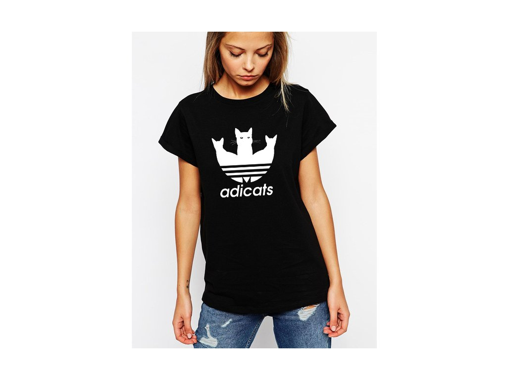 dámské černé tričko adicats