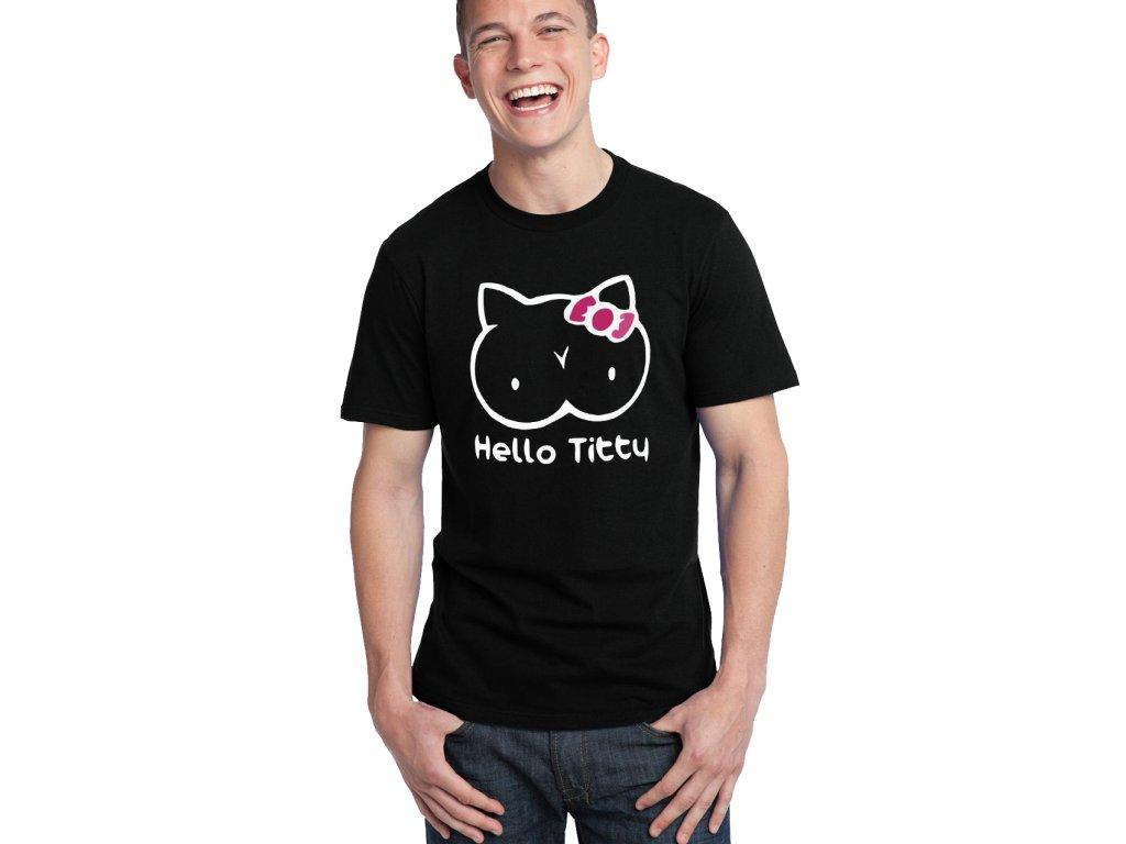 pánské černé tričko hello titty parodie Hello kitty