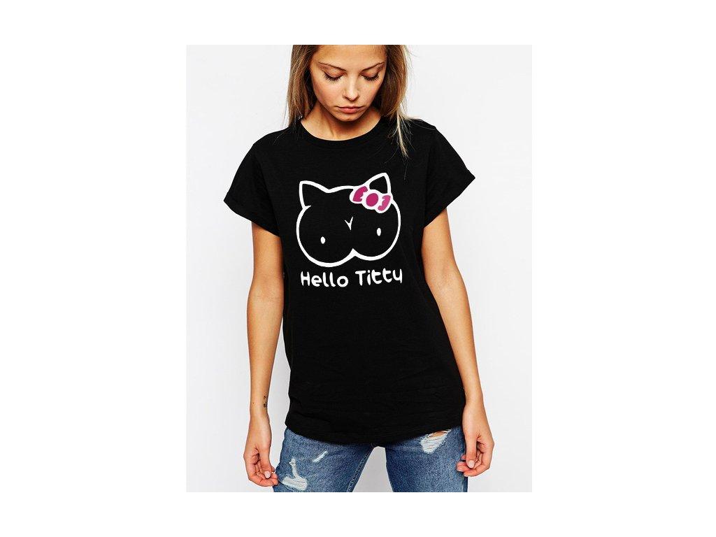 dámské černé tričko hello titty parodie Hello kitty