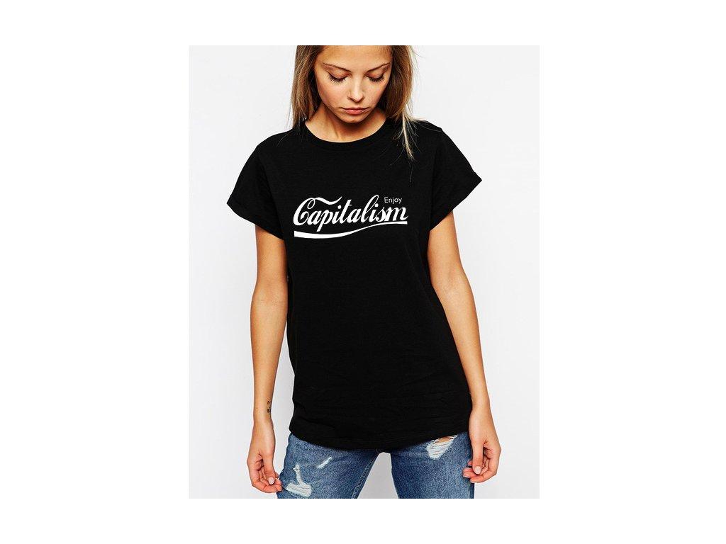 dámské černé tričko kapitalismus parodie coca cola