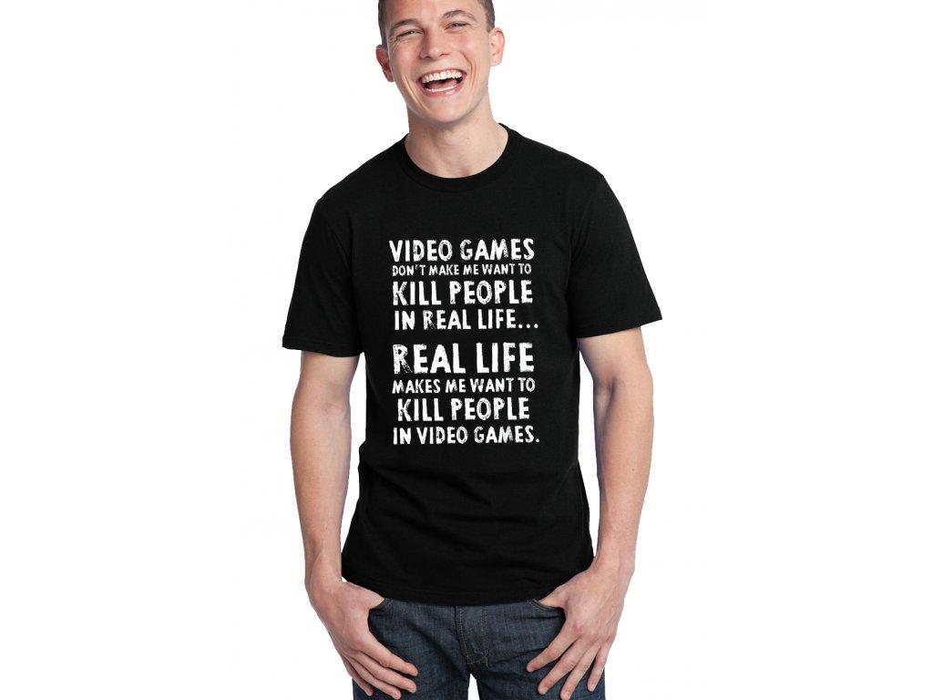 pánské černé tričko video hry zabíjejí