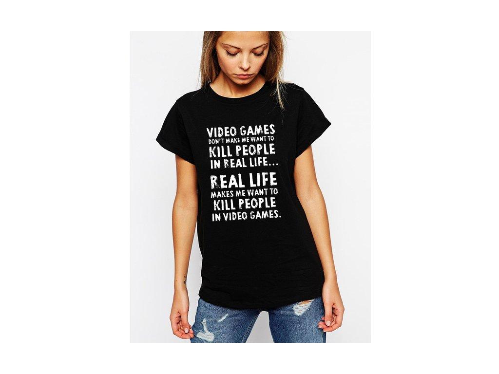 dámské černé tričko video hry zabíjejí