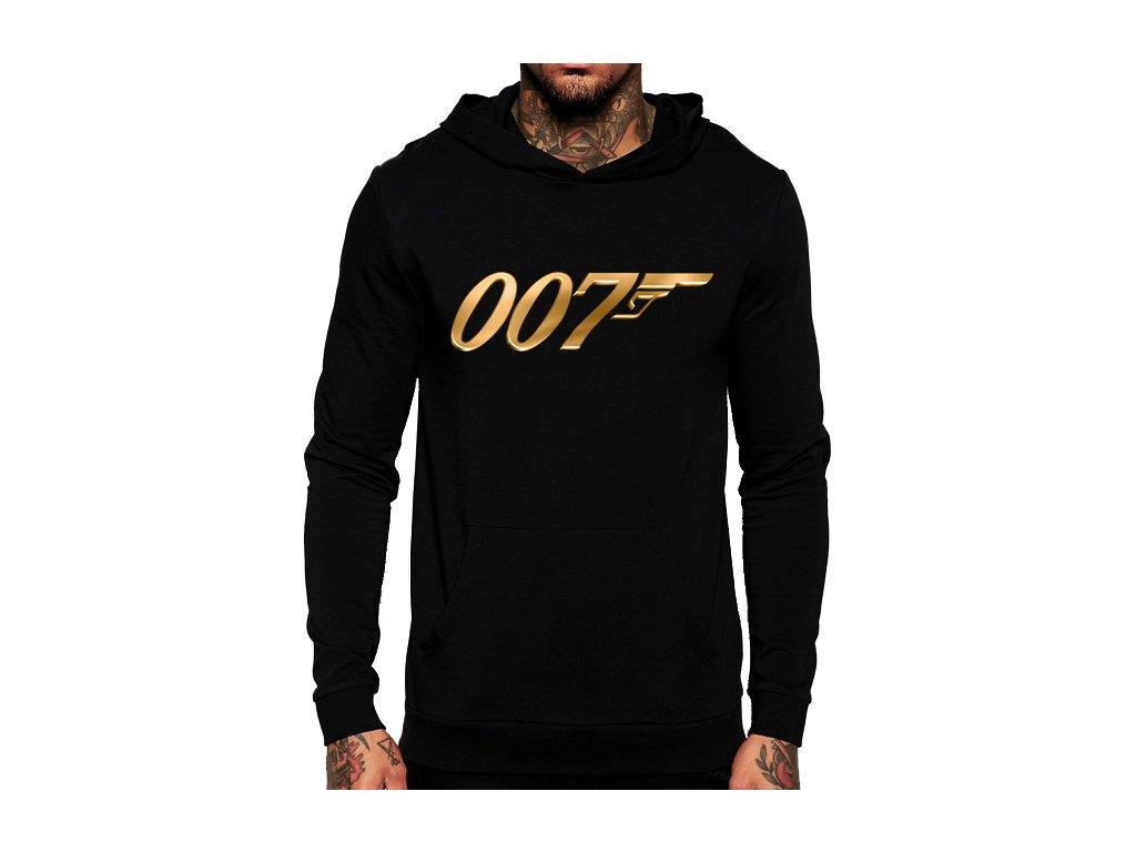 unisex černá mikina s kapucí james bond 007