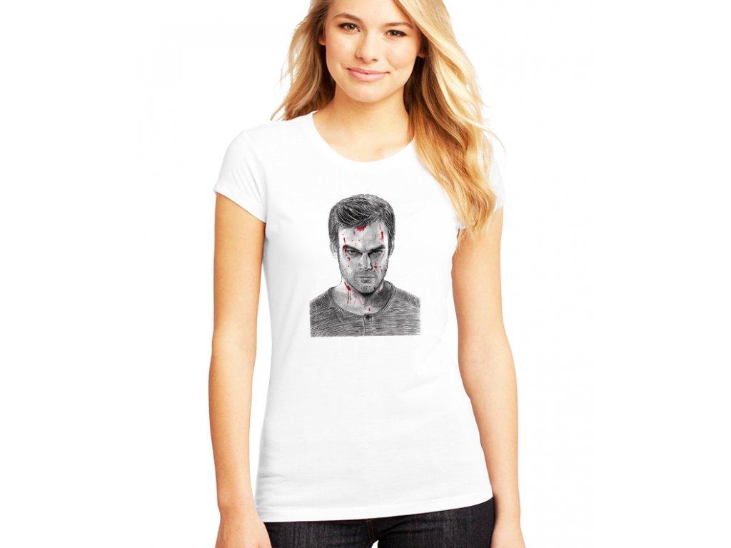 dámské bílé tričko dexter obličej