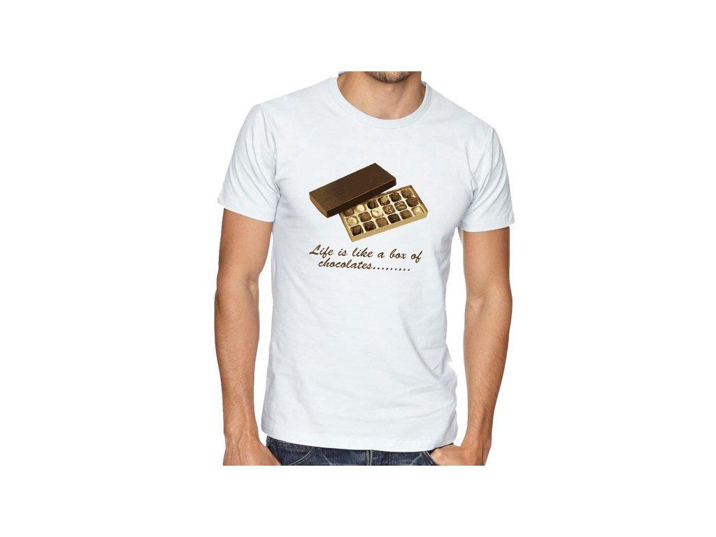 pánské bílé tričko Forrest Gump Život je jako bomboniéra