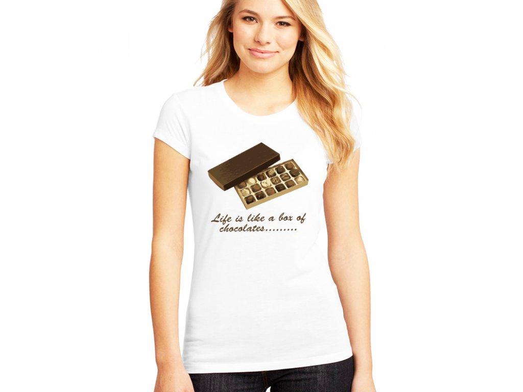 dámské bílé tričko Forrest Gump Život je jako bomboniéra