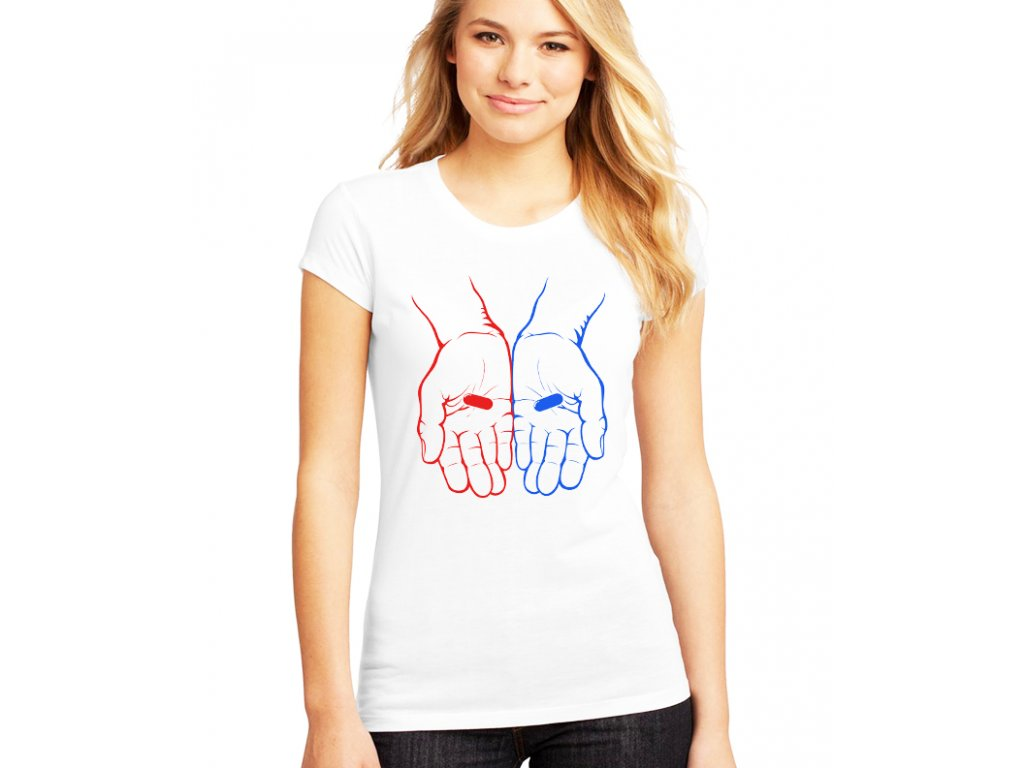 dámské bílé tričko matrix červená nebo modrá pilulka