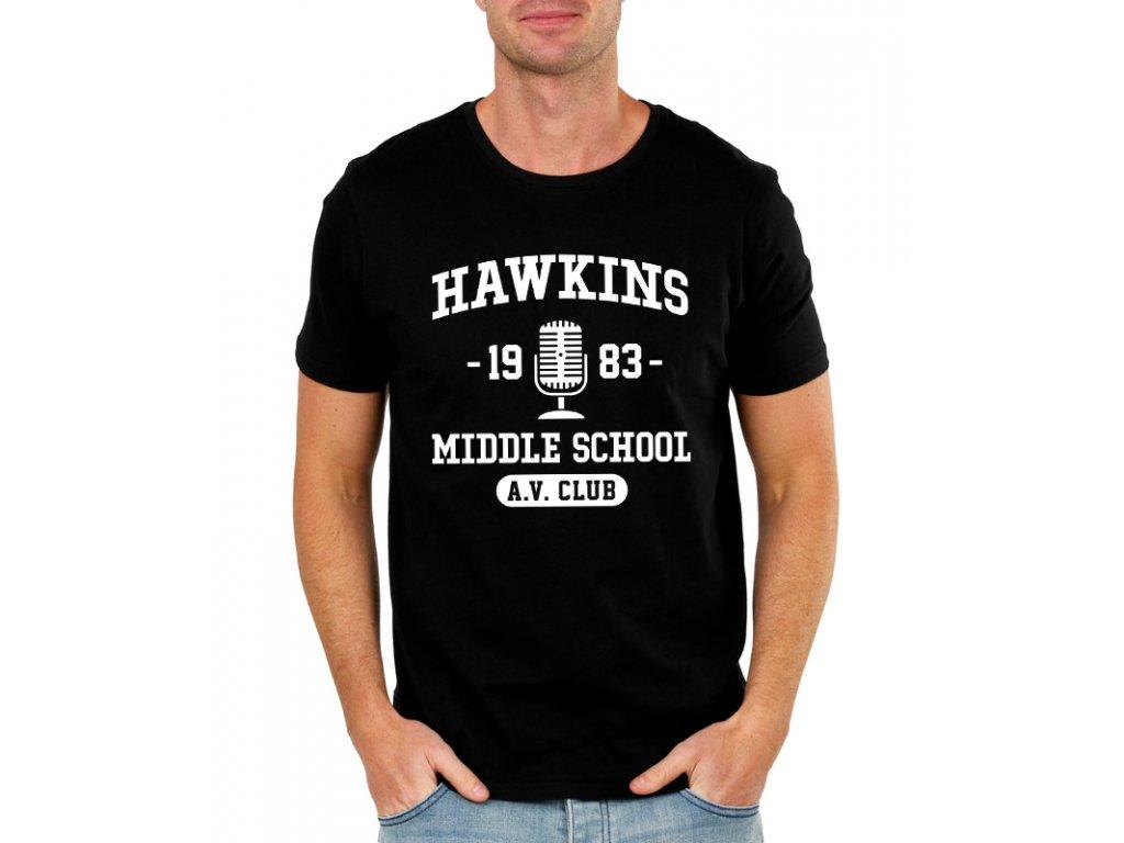 pánské černé tričko Stranger Things Hawkins