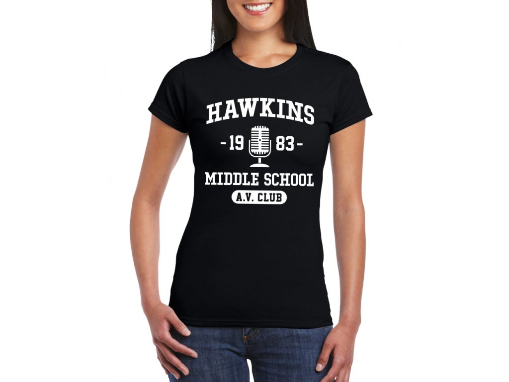 damske tricko Stranger Things Střední škola Hawkins