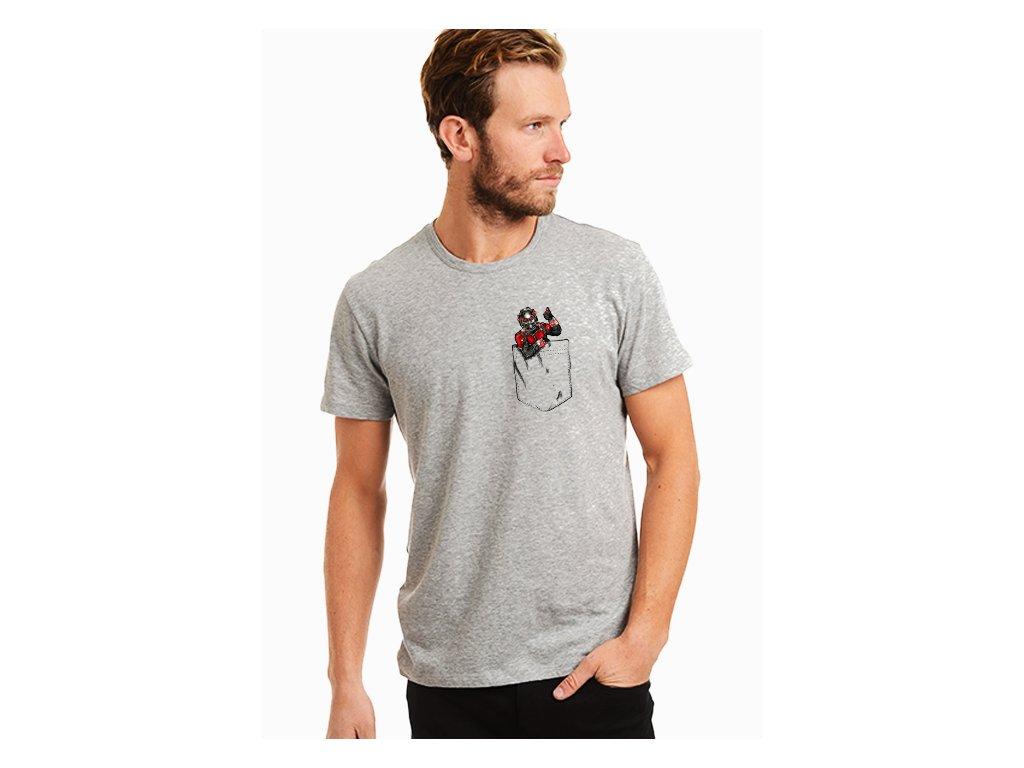 pánské šedé tričko ant man kapsička na prsou
