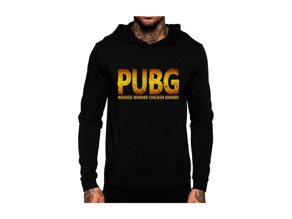 unisex černá mikina s kapucí PUBG Chicken dinner