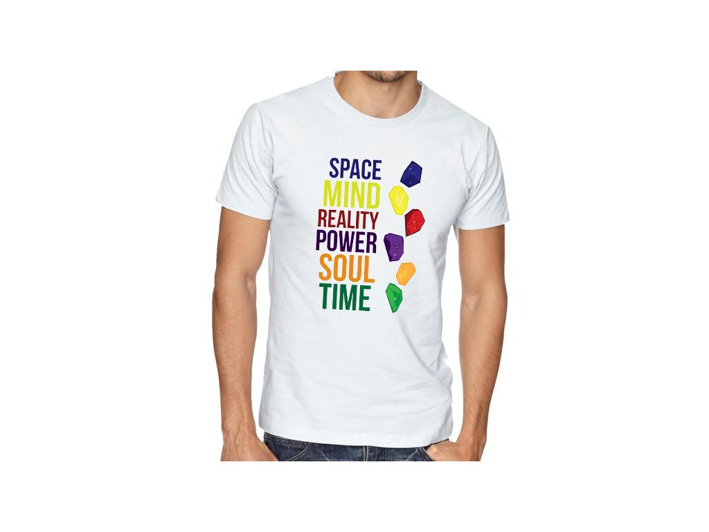 pánské bílé tričko 6 kamenů nekonečna avengers
