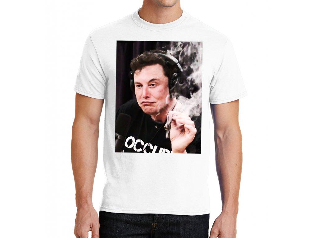 pánské bílé tričko elon musk marihuana