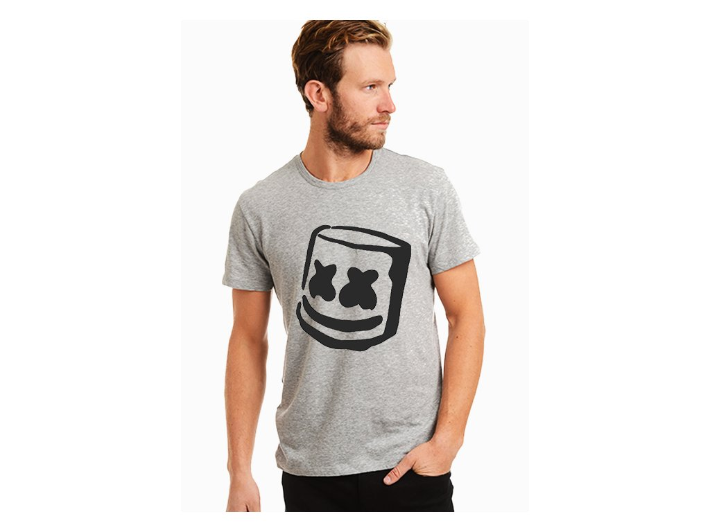 pánské černé tričko marshmello grey
