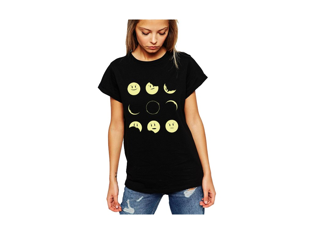 dámské černé tričko měsíc smajlík