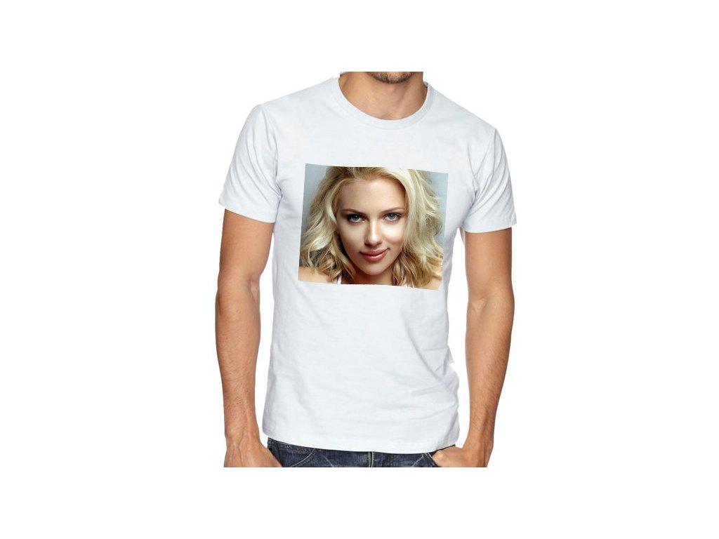 Pánské bílé tričko Scarlett Johansson