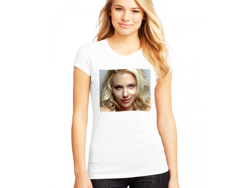 Dámské bílé tričko Scarlett Johansson