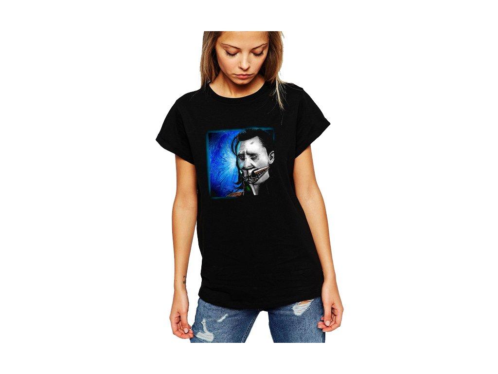 Dámské černé tričko Loki teserakt