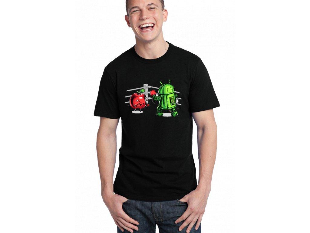 pánské černé tričko android vs apple bitva